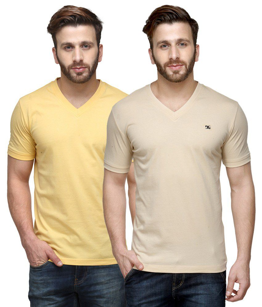 Dazzgear Combo of Regular Fit V-Neck T-Shirts - Beige & Yellow