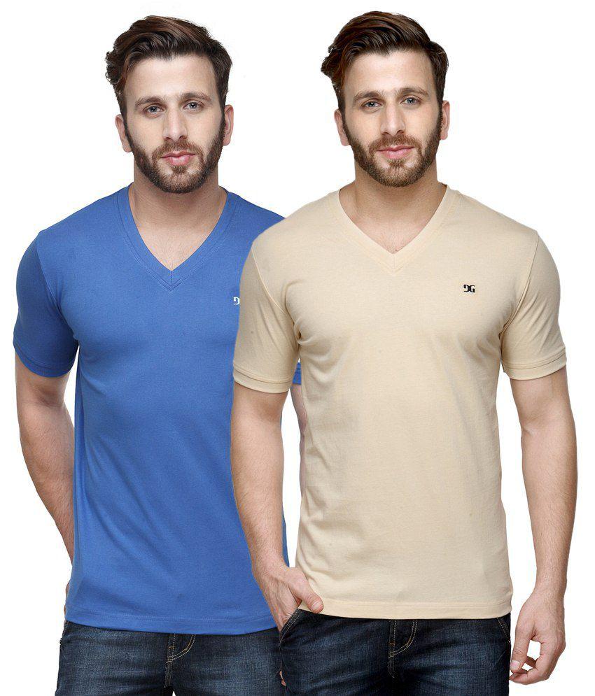 Dazzgear Combo of Regular Fit V-Neck T-Shirts - Blue & Beige