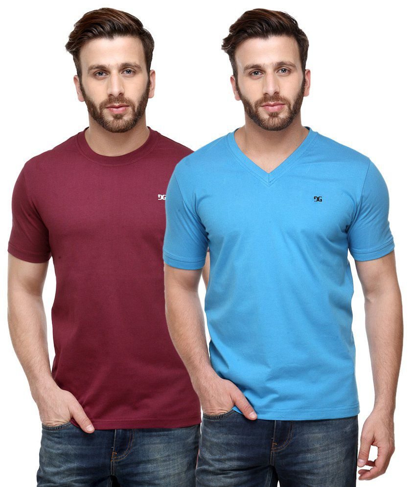 Dazzgear Combo of Regular Fit V-Neck and Round Neck T-Shirts - Maroon & Blue