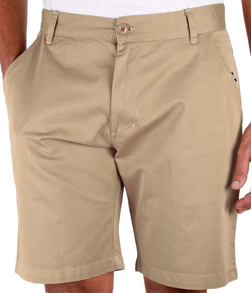Faraday Beige Cotton Solids Short For Men