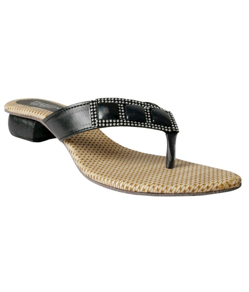 Trewfin Black Sequence Low Heel Sandal For Women
