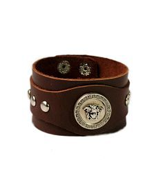 VR Designers Silver Charm Brown Leather Wrist Band
