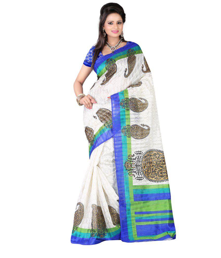 4091bd9dc1 Aastha Sarees Printed Bhagalpuri Silk Saree With Blouse Piece - Buy Aastha Sarees  Printed Bhagalpuri Silk Saree With Blouse Piece Online at Low Price ...