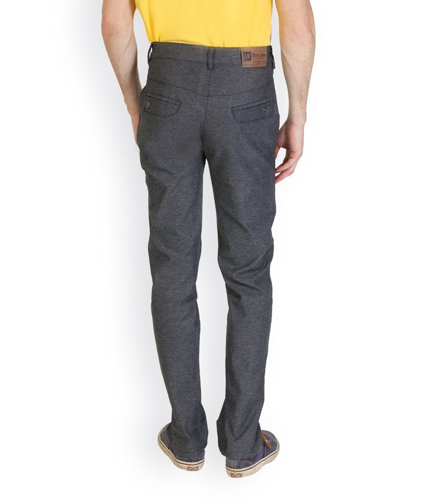Bloos Jeans Black Linen Slim Fit Chinos