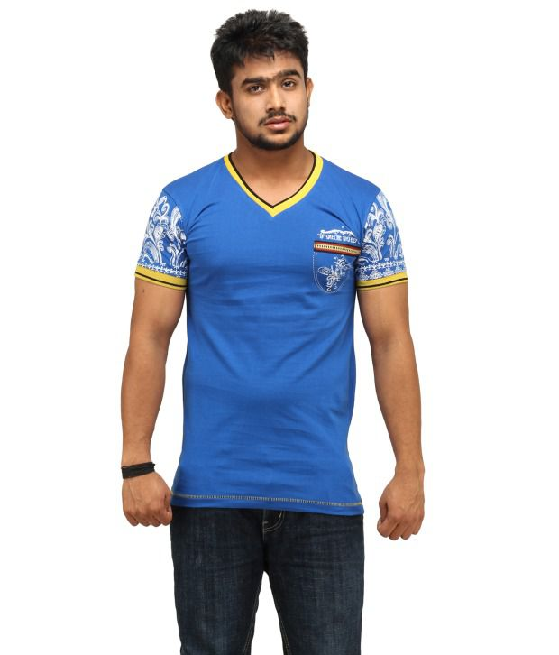 Camisa Blue Cotton Blend Printed T Shirt