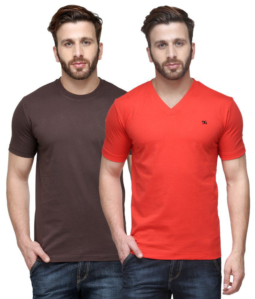 Dazzgear Combo of Regular Fit V-Neck and Round Neck T-Shirts - Brown & Red