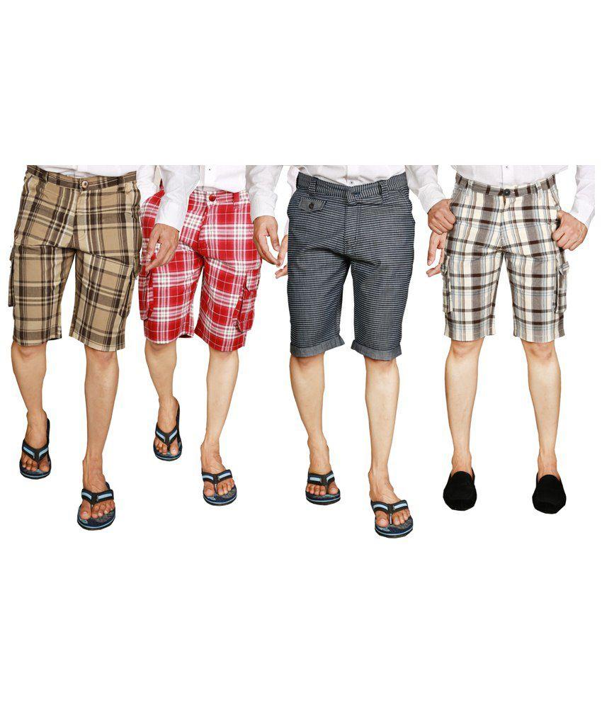 S.A. True Fashion Excellent Multicolour Combo Of 4 Shorts For Men