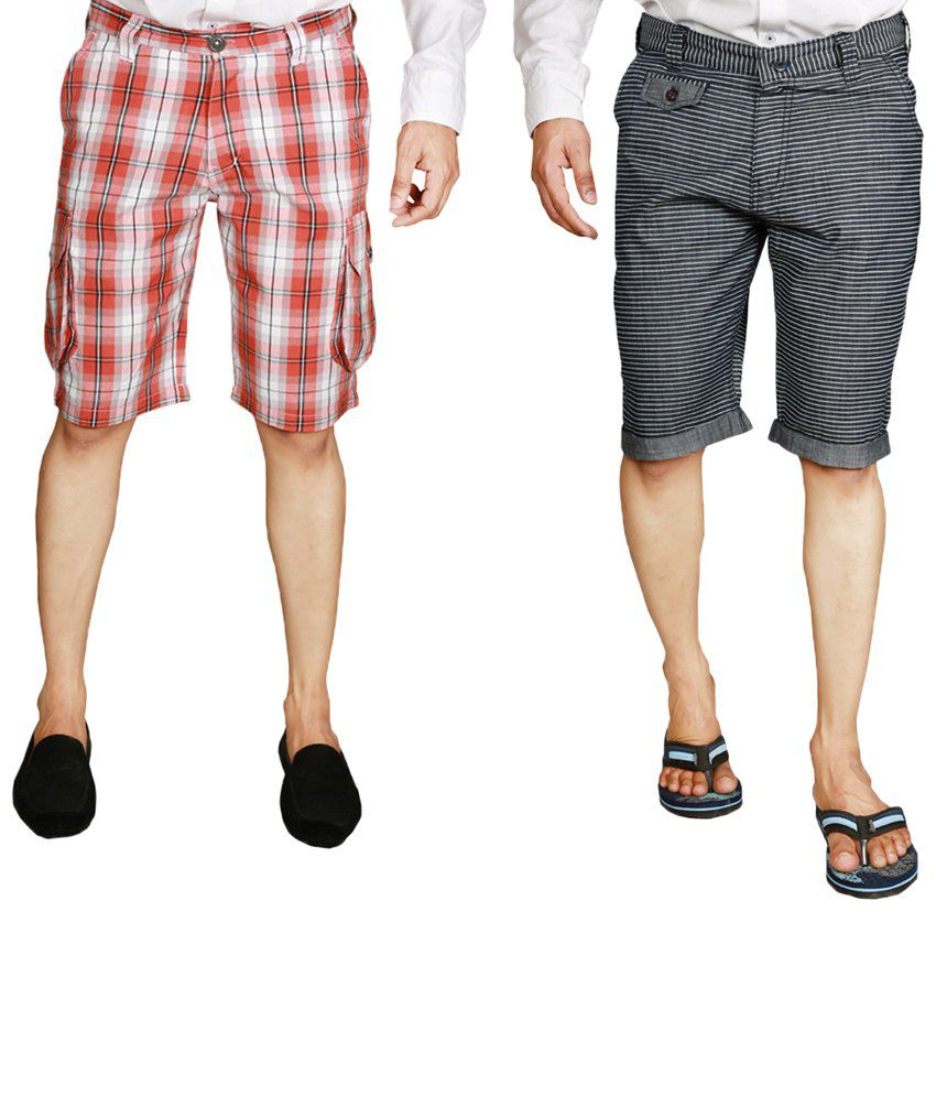 S.A. True Fashion Stylish Multicoloured Pack of 2 Shorts For Men