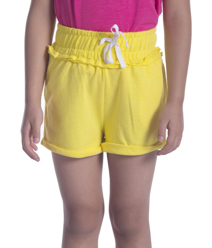 Sera Yellow Cotton Elastic Shorts