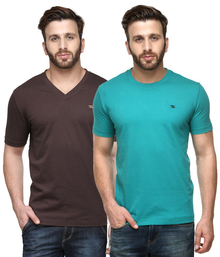 Dazzgear Combo of Brown & Blue Round Neck T-Shirt and V Neck T-Shirt