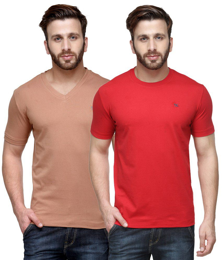 Dazzgear Combo of Pink & Red Round Neck T-Shirt and V Neck T-Shirt