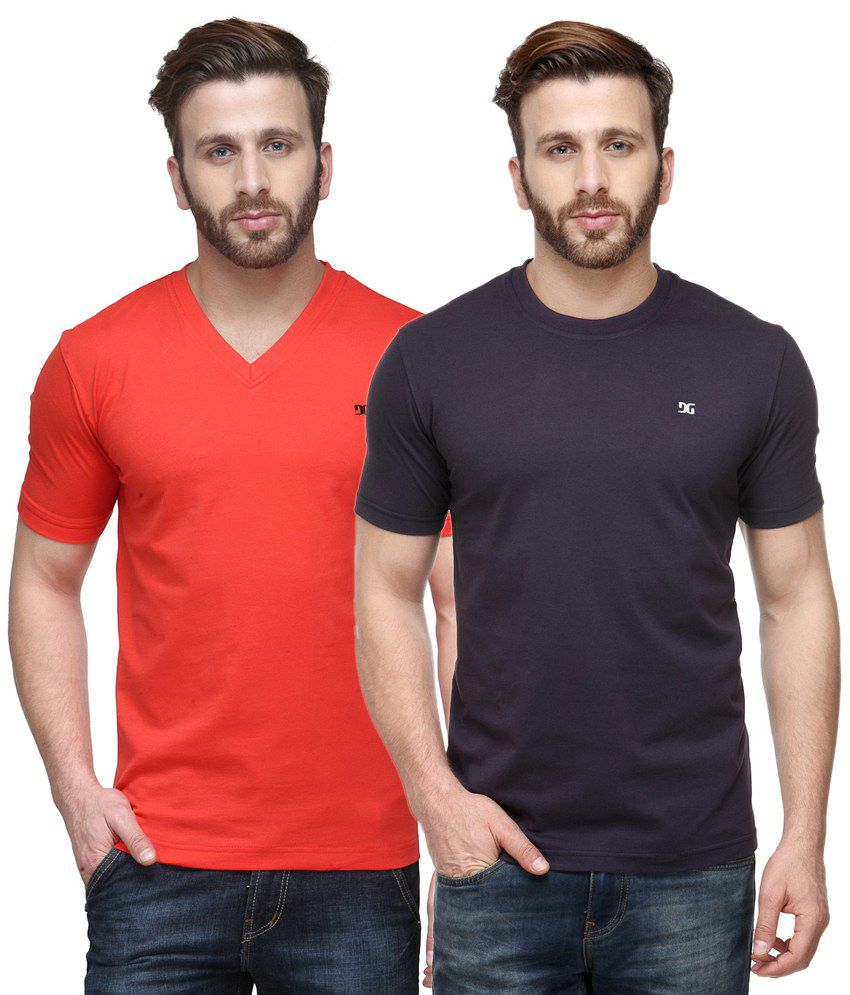 Dazzgear Combo of Red & Purple Round Neck T-Shirt and V Neck T-Shirt