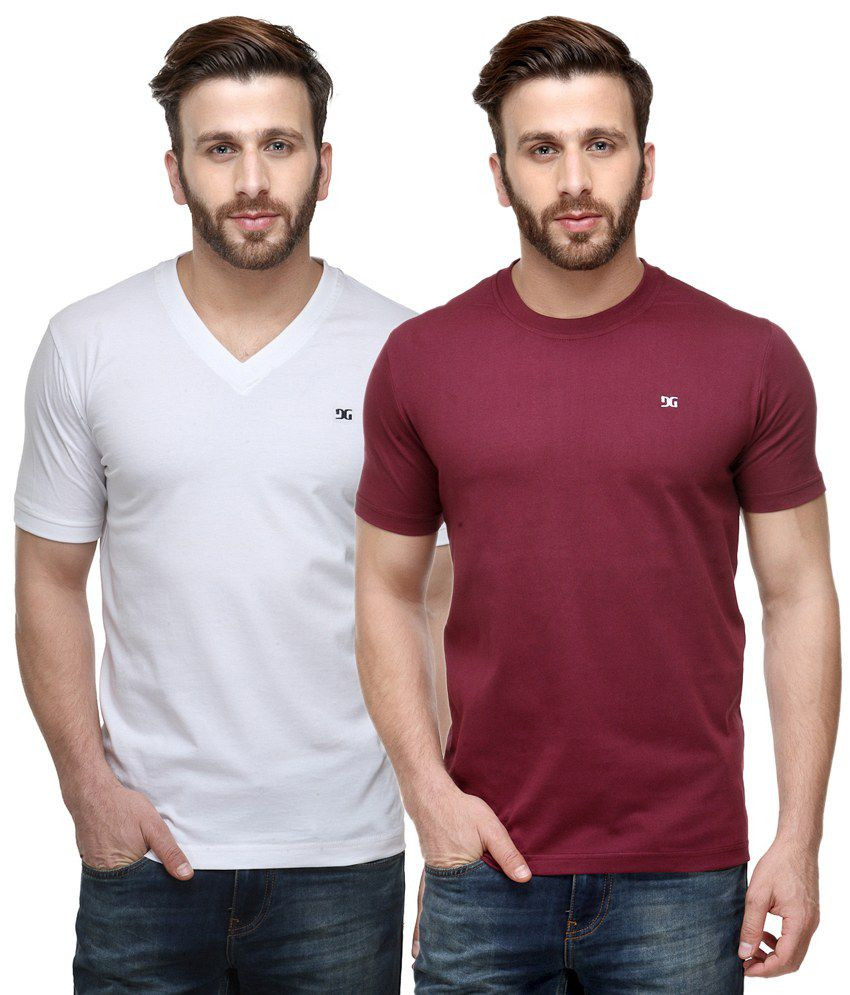 Dazzgear Combo of White & Red Round Neck T-Shirt and V Neck T-Shirt