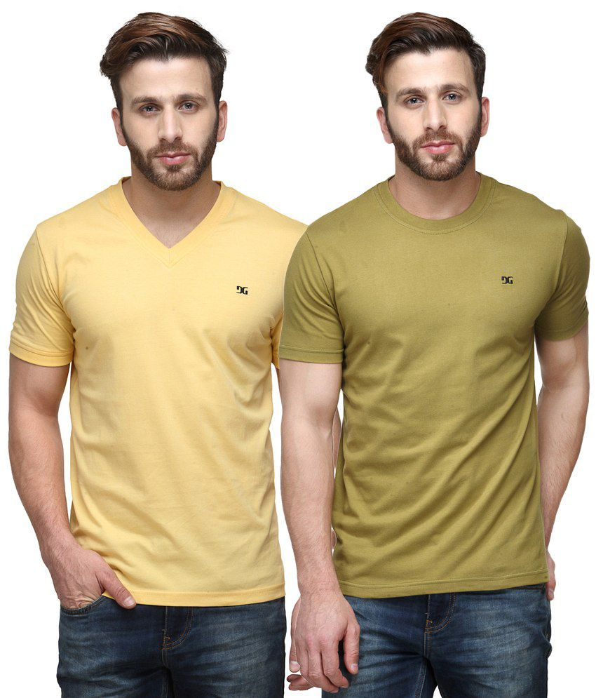 Dazzgear Combo of Yellow & Green Round Neck T-Shirt and V Neck T-Shirt