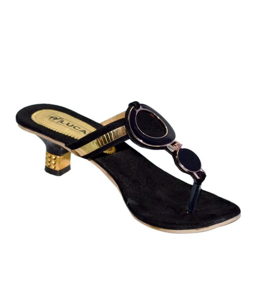 Luca Fashion Black Faux Leather Open Toe Stylish Heeled Slip-On