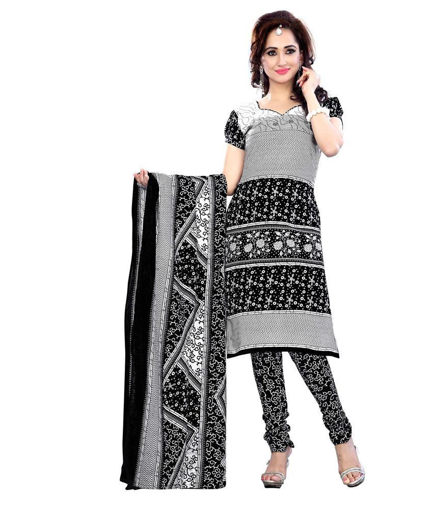 Krisha Print Black Cotton Printed Dress Material