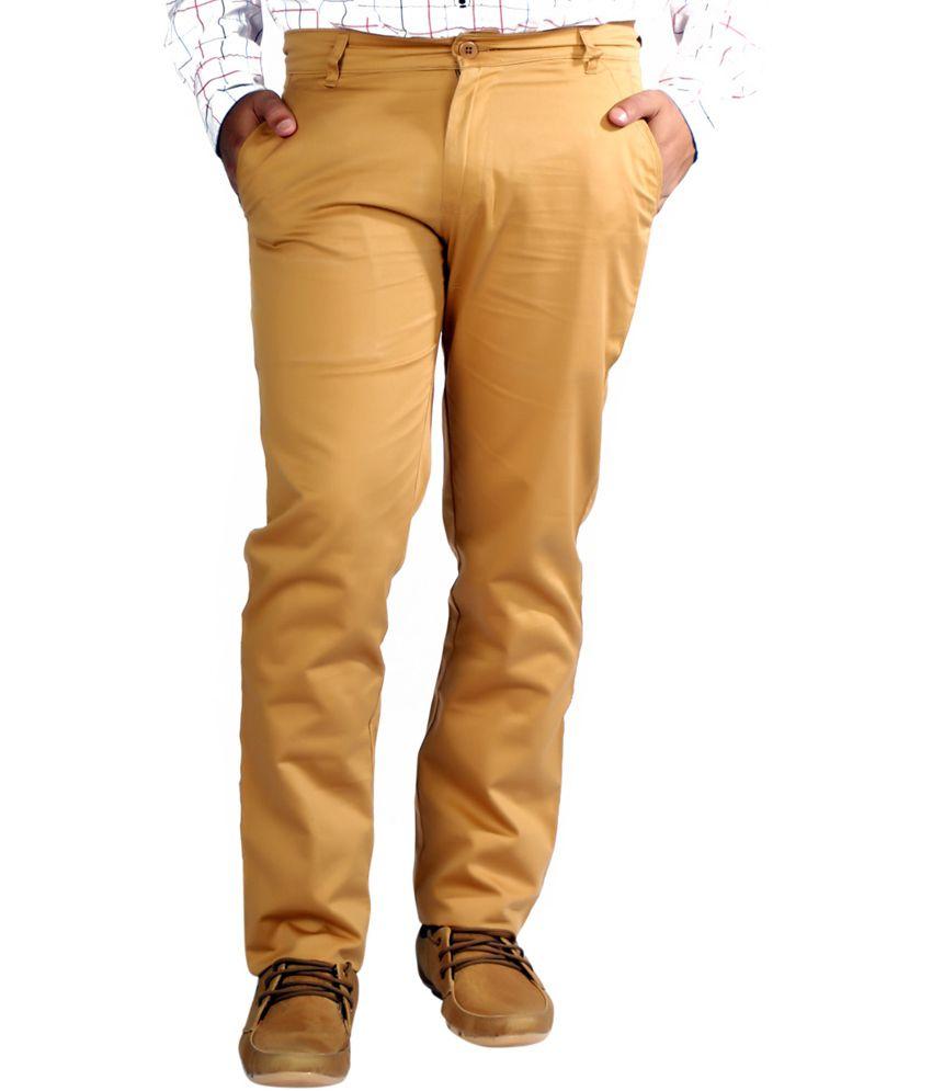 Somani Fashion Brown Cotton Slim Fit Chinos