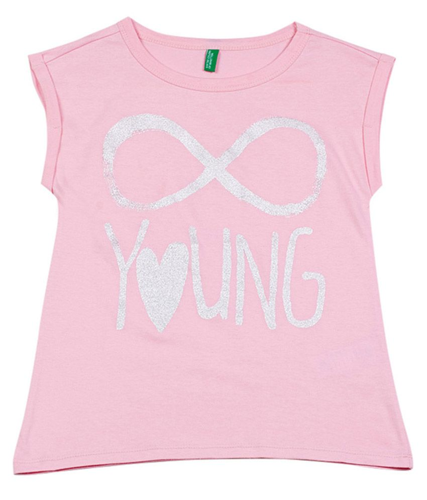 UCB Cap Sleeve Light Pink Solid T-Shirt For Kids