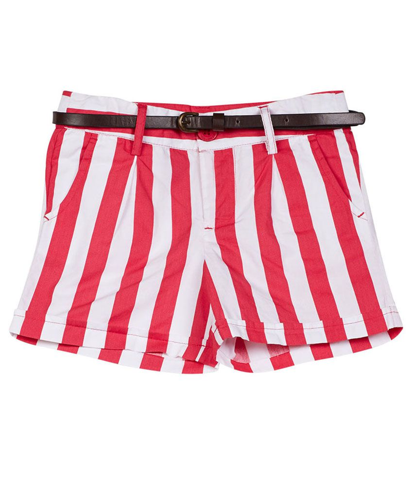 UCB  White/Pink Stripe Shorts For Kids