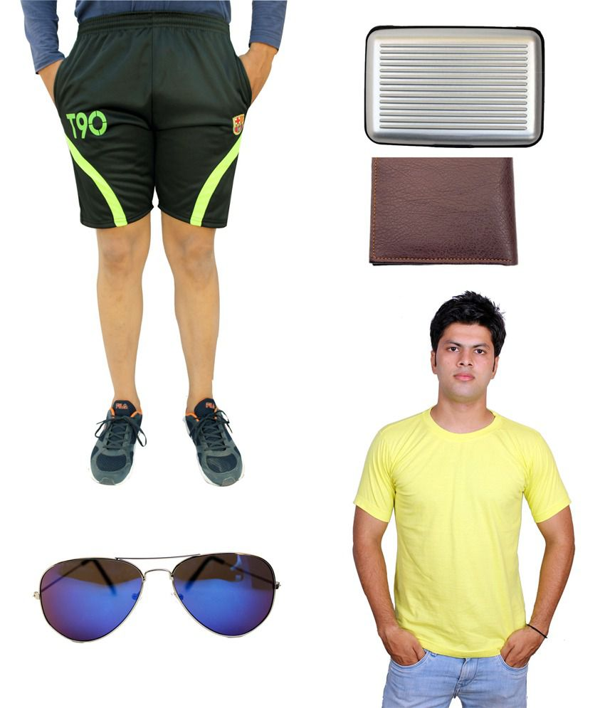 Civilized Showdown Combo 1 Pair Of Shorts And 1 Half Sleeve T-shirt With Aviator Sunglasess