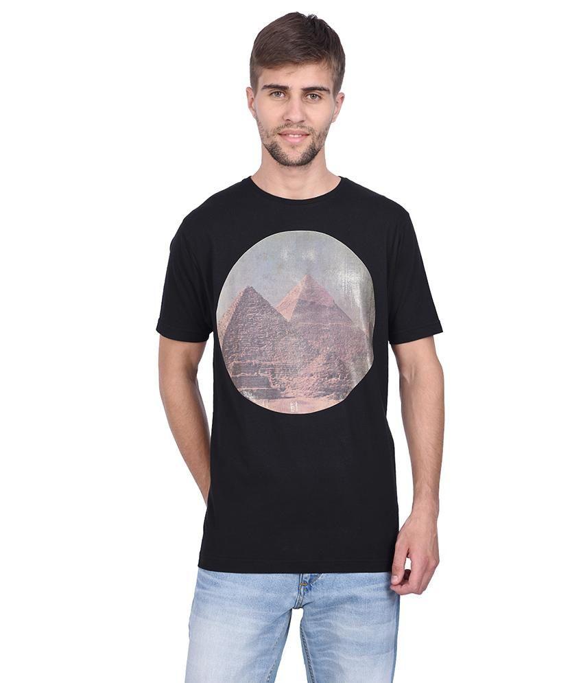 Slub Black Printed T Shirt For Men