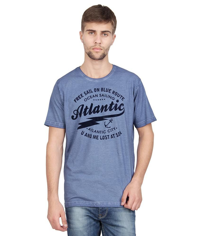 Slub Blue Printed T Shirt For Men
