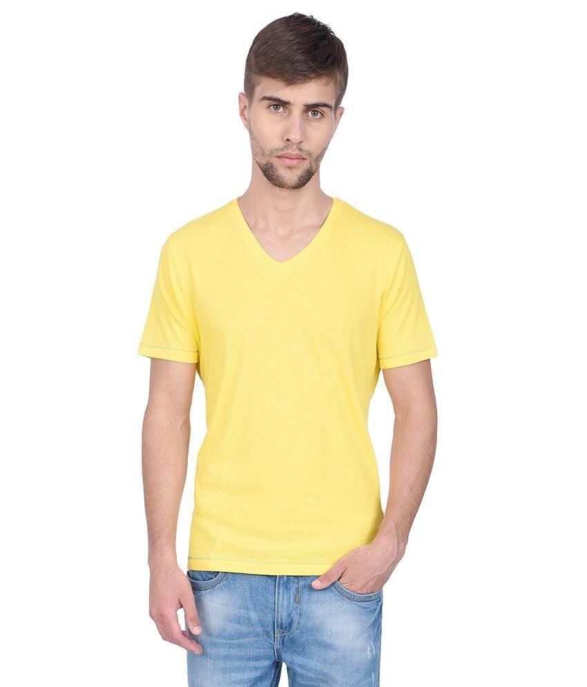 Slub Yellow T Shirt For Men
