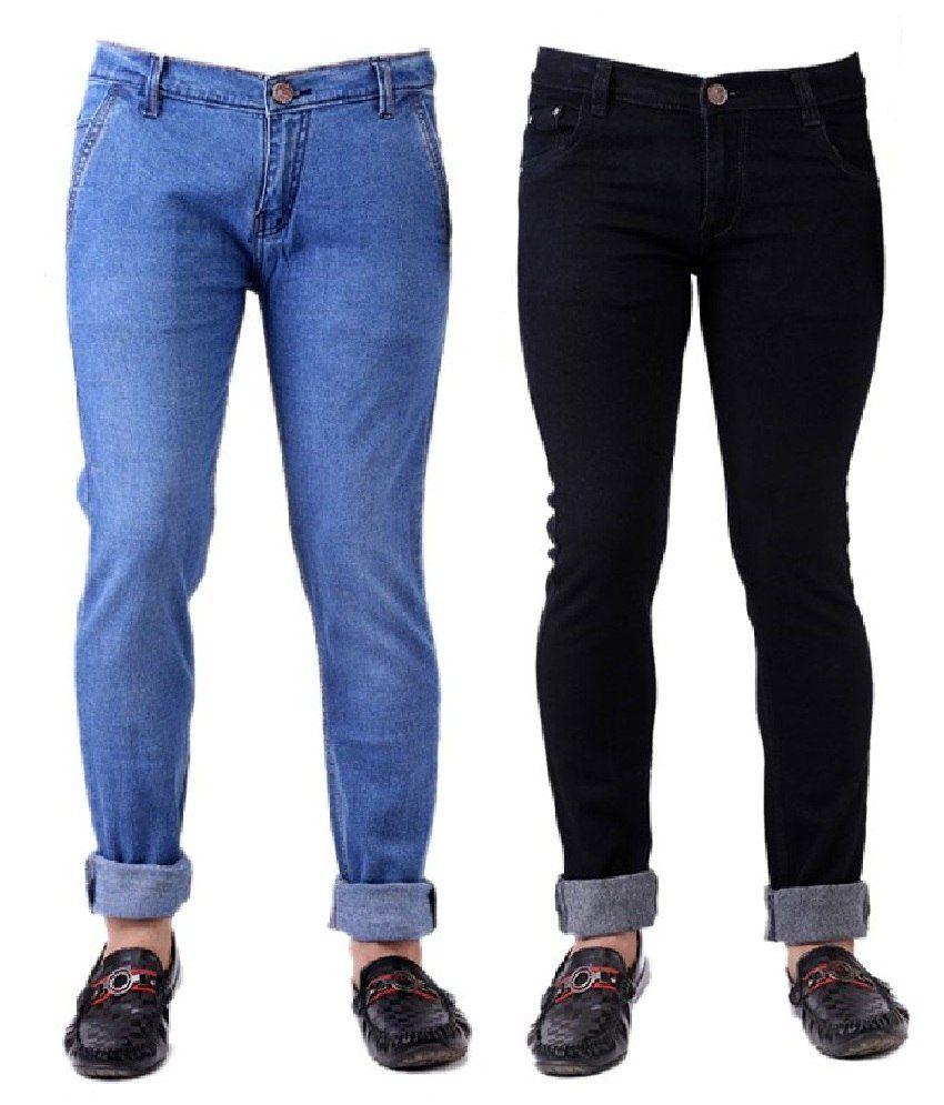 Trendy Trotters pack of Light Blue and Black Denim Jeans For Men