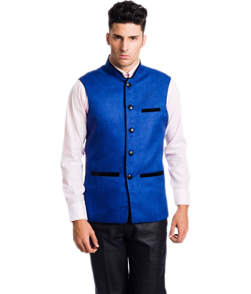 VS Blue Poly Blend Nehru Jacket