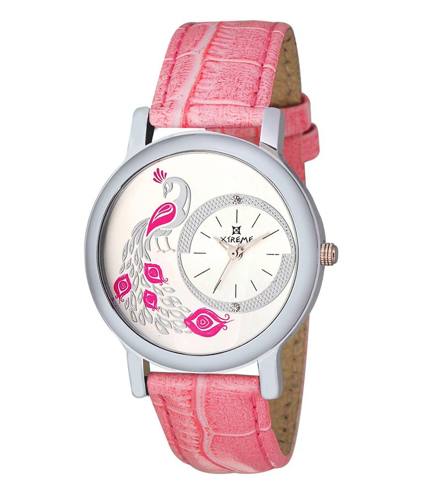 Xtreme Leather Analog Round Dial Ladies Watch With Pink Strap