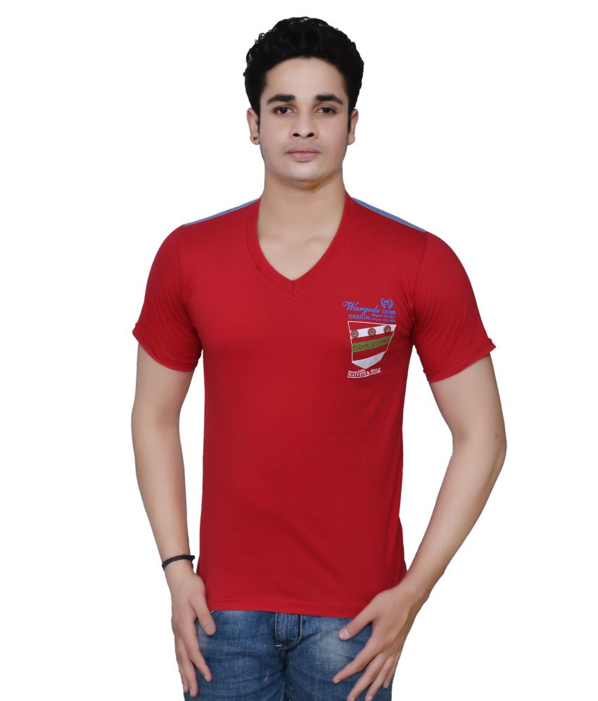 ZXE Red Cotton V-Neck Printed Men T Shirts