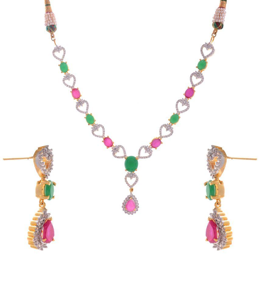 Bharat Sales Multicolour Bridal Cz Stone Necklace Set