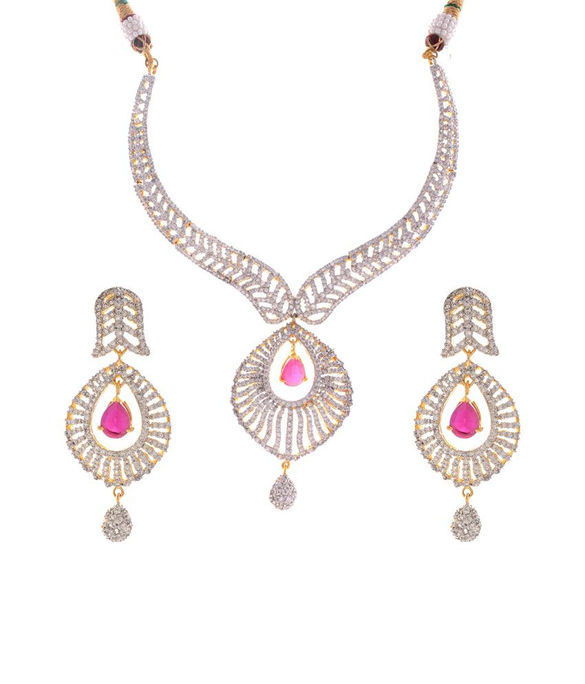 Bharat Sales Pink Bridal Cz Stone Necklace Set