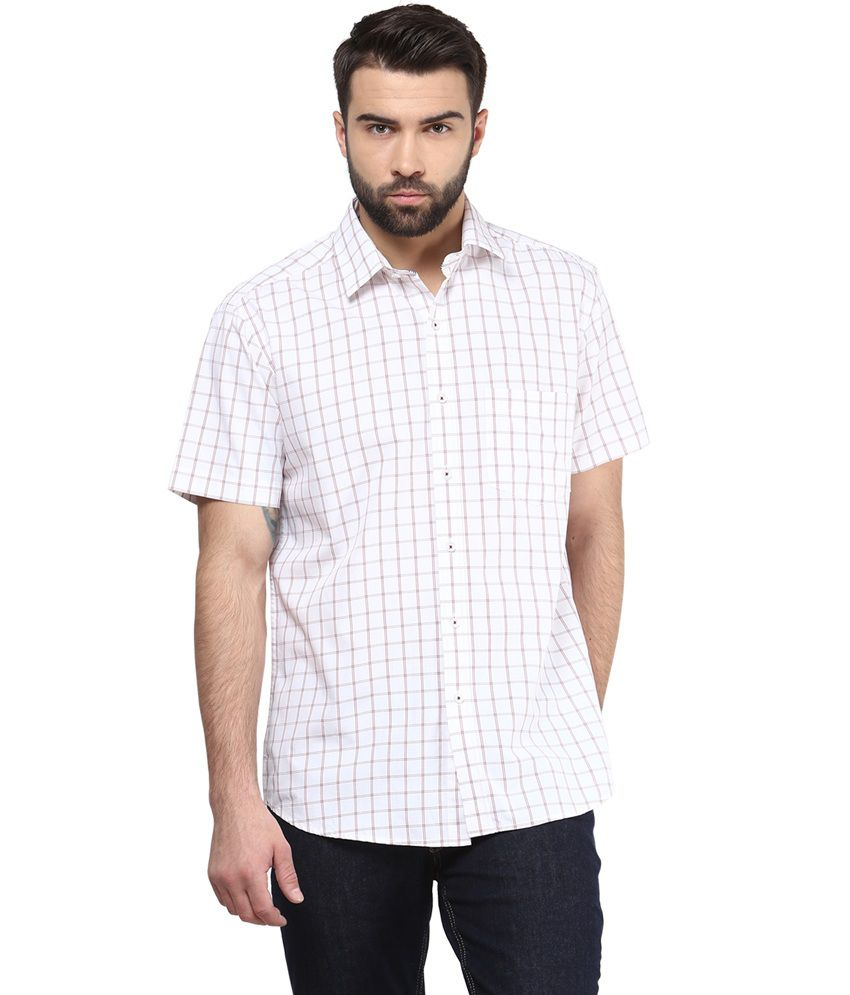Funk Red and White Cotton Half Sleeves Shirt