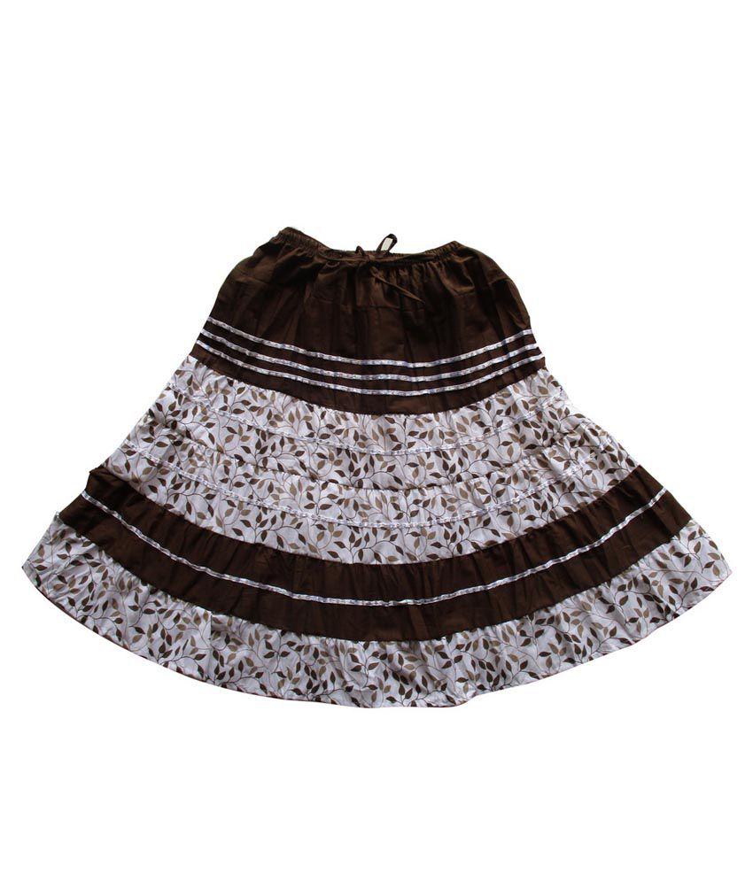 Garlynn Black Printed Cotton Skirt