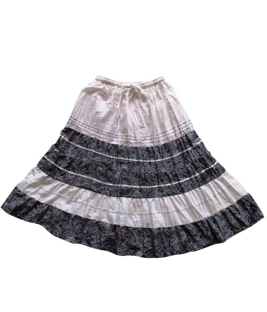 Garlynn Black & White Printed Cotton Skirt