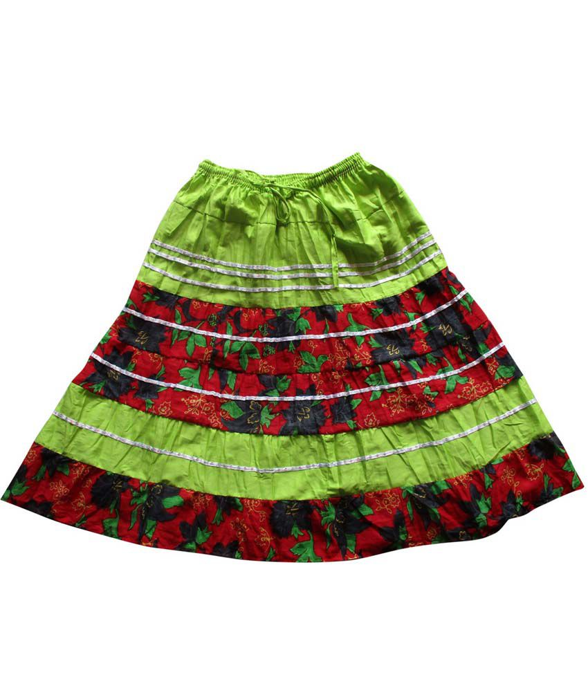 Garlynn Green & Red Printed Cotton Skirt