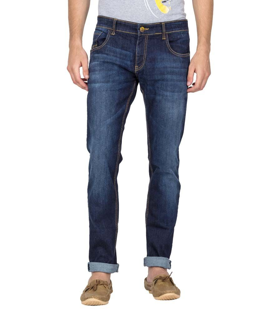Le Bison Blue Cotton Slim Fit Mid Rise Faded Jeans