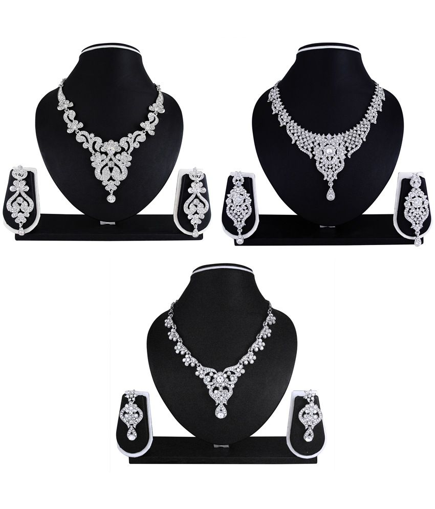 Atasi International Silver Alloy Necklace Sets Combo