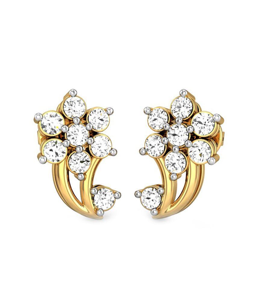 Candere Jasmin Diamond Earring Yellow Gold 14K