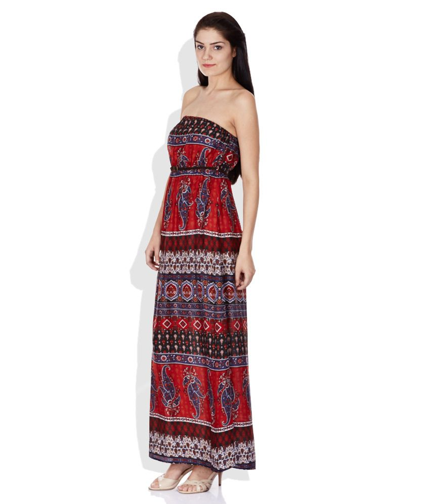 ONLY Multi Color Printed Tube Maxi Dress - Buy ONLY Multi Color ...