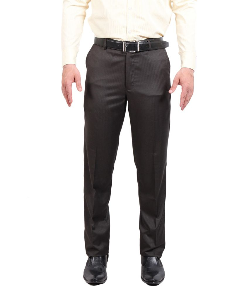 Solemio Brown Poly Viscose Slim fit Formal trouser