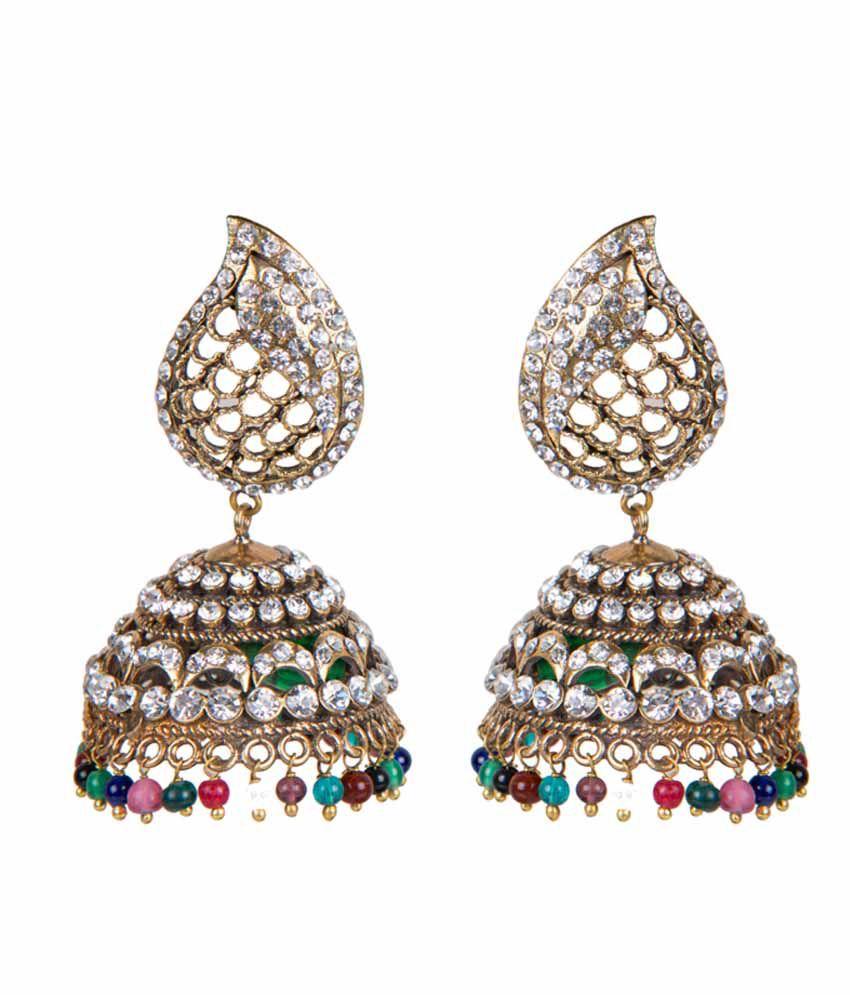 Taj Pearl Golden Alloy Style Diva Crystal Jhumkis