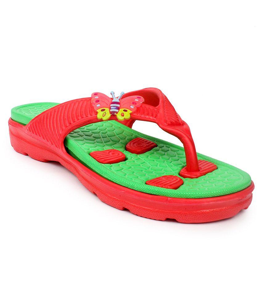 11E Women Red And Green Flip Flops
