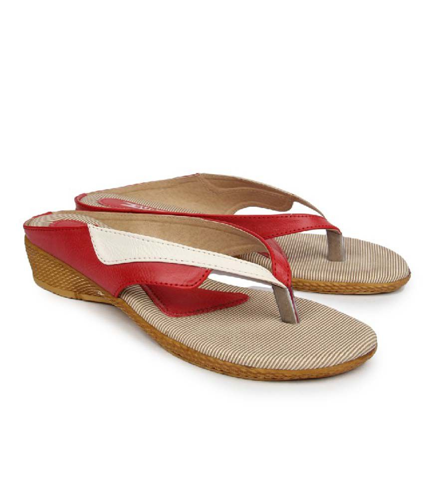 Superstar Red Synthetic Flat Daily Wear Sandals