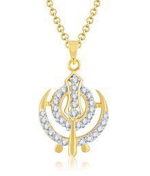 Sukkhi Stunning Gold & Rhodium Plated Cubic Zirconia Studded God Pendant
