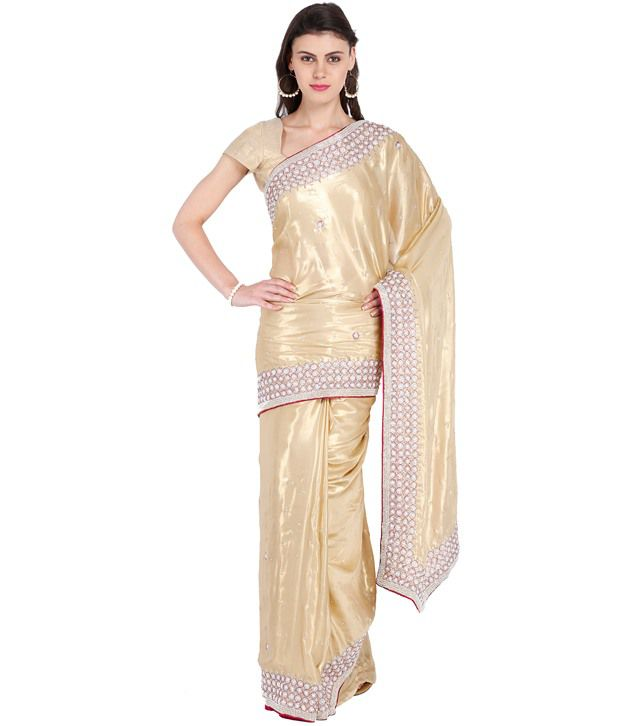 8dba3c490850a7 Almas White and Beige Satin Saree - Buy Almas White and Beige Satin Saree  Online at Low Price - Snapdeal.com