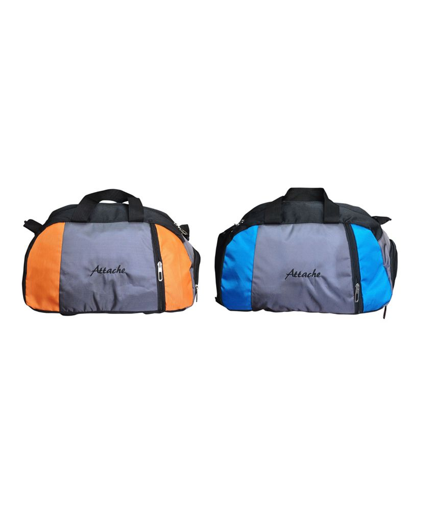 Attache Orange And Blue Set Of 2(With Shoe Pocket) gear Gym Bag