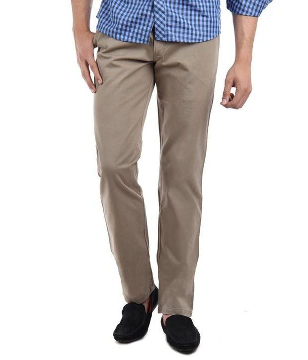 Hareesh Garments Beige Cotton Regular Fit Trouser