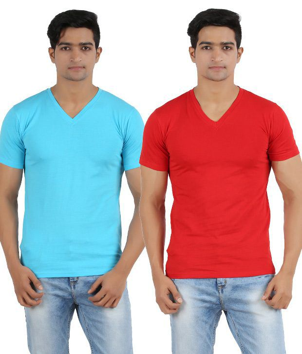 Lyril Red and Blue Cotton V-Neck Half Sleeve T-Shirt